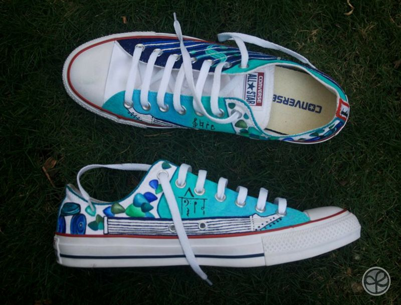 Custom Converse shoes painted by Keith Pinto