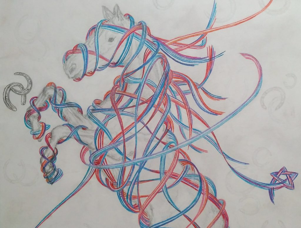 Horse sketch with colour-pencil