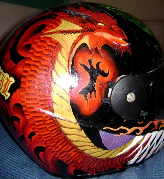 Custom helmet with dragon theme