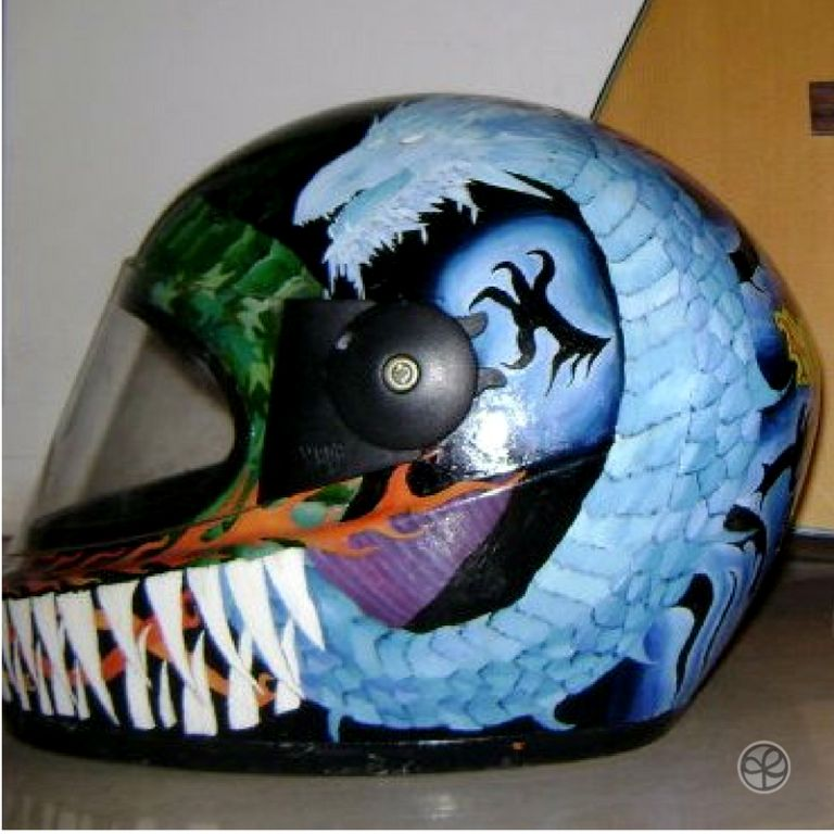 Blue dragon painted on side of helmet