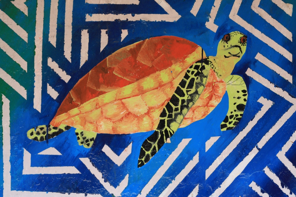 Painting of a Hawksbill sea turtle