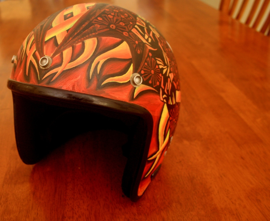 Flaming painted helmet